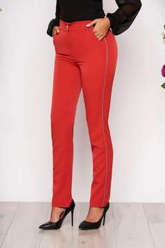 Coral trousers elegant conical cloth with pockets with elastic waist metallic details