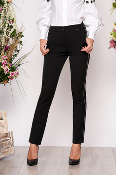 Black trousers elegant conical cloth with pockets with elastic waist metallic details
