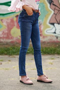 Blue jeans casual denim faux leather belt medium waist classic jeans