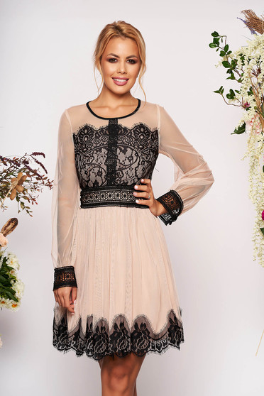Cream dress occasional short cut cloche laced long sleeved transparent sleeves
