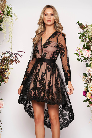 Black dress occasional short cut asymmetrical laced with inside lining long sleeve