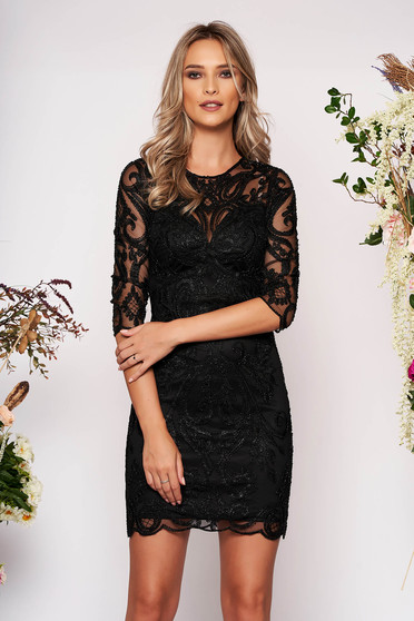 Black dress occasional short cut pencil with 3/4 sleeves transparent sleeves with small beads embellished details with inside lining