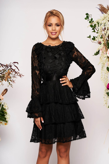 Black dress short cut occasional laced with bell sleeve long sleeved neckline