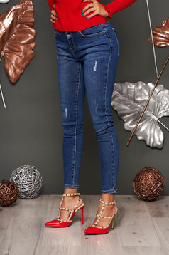 Darkblue jeans casual low waisted denim small rupture of material skinny jeans
