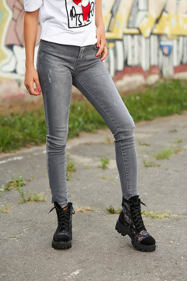 Grey jeans casual long small rupture of material denim prewashed fabric
