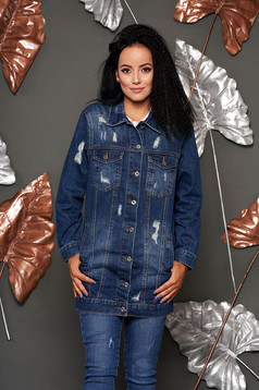 Blue jacket casual midi denim with easy cut small rupture of material