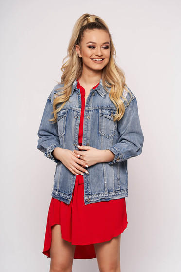 Blue jacket casual short cut with pockets with easy cut metal eyelets fastening