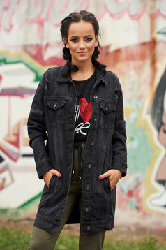 Black jacket casual midi denim with pockets with easy cut small rupture of material