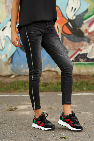 Black jeans casual long with medium waist skinny jeans denim with front pockets