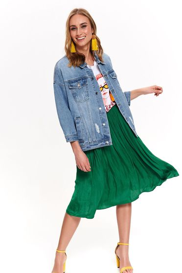 Blue jacket casual midi denim small rupture of material with easy cut