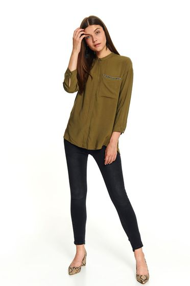 Green short cut casual flared women`s shirt with a front pocket