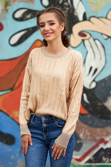 Cream sweater casual short cut flared knitted fabric neckline long sleeved with sequin embellished details
