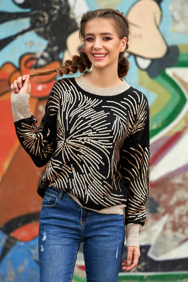 Black sweater casual short cut flared knitted with sequin embellished details neckline