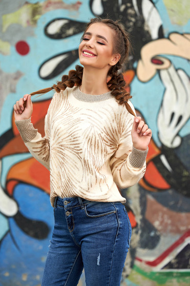 Cream sweater casual short cut flared knitted with sequin embellished details neckline