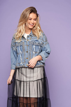 Blue jacket short cut casual denim aims with easy cut with front pockets