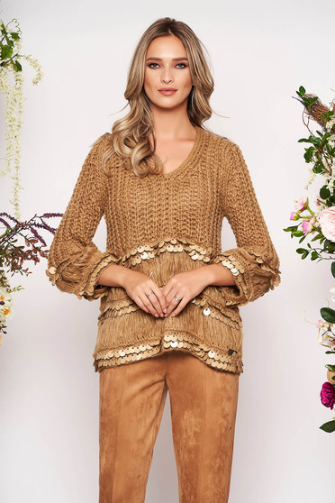 Brown sweater casual flared short cut with sequin embellished details with v-neckline knitted fabric