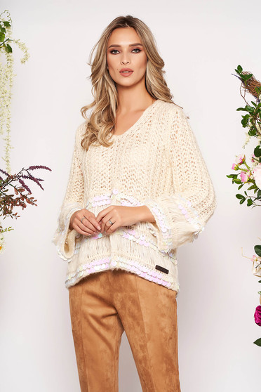 Cream sweater casual flared short cut with sequin embellished details with v-neckline knitted fabric