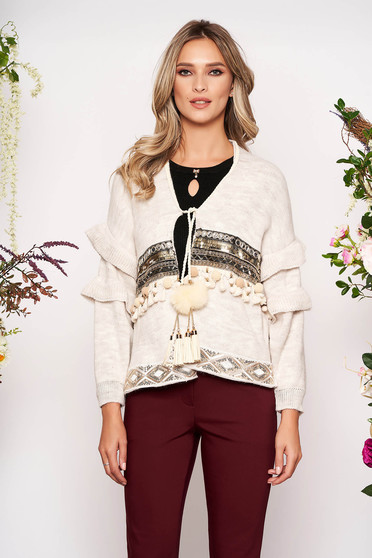 Cream cardigan casual knitted fabric with sequin embellished details with easy cut ribbon fastening