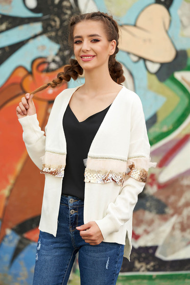 White cardigan casual knitted with easy cut with sequin embellished details long sleeved