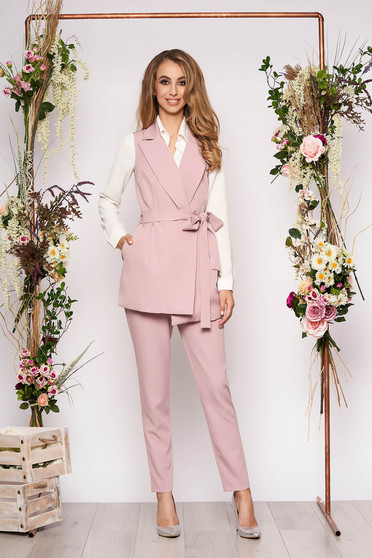 Lightpink lady set with trousers 2 pieces elegant cloth thin fabric detachable cord