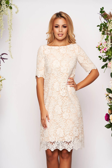 StarShinerS ivory elegant midi dress with easy cut from laced fabric