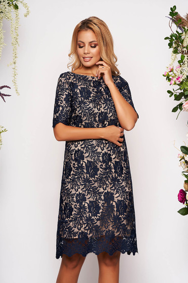 StarShinerS darkblue elegant midi dress with easy cut from laced fabric