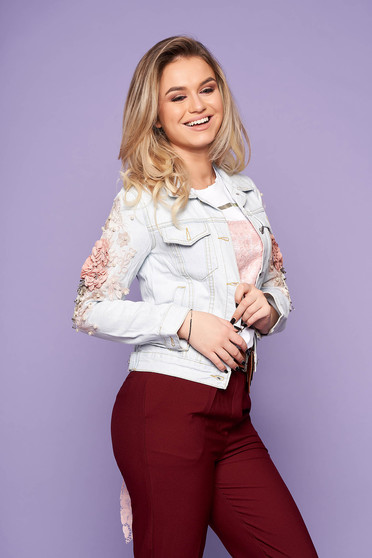 Blue jacket casual short cut denim with pearls with lace details with floral details