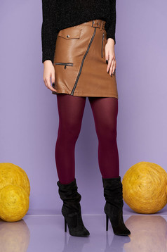 Brown skirt casual short cut from ecological leather with faux pockets faux leather belt