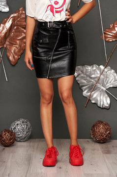 Black skirt casual short cut from ecological leather with faux pockets faux leather belt