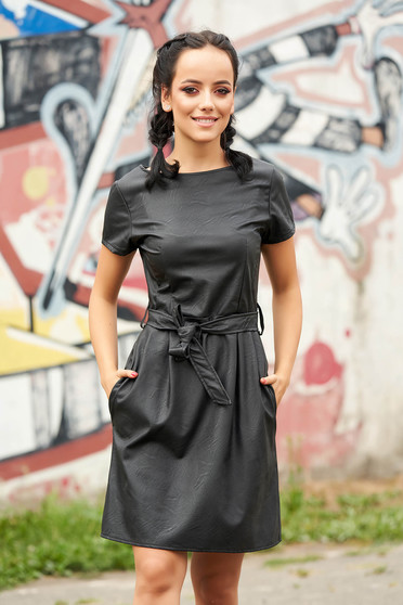 Black dress daily short cut cloche from ecological leather with pockets detachable cord