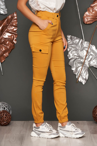 Mustard trousers casual high waisted denim imitation with front pockets lateral pockets