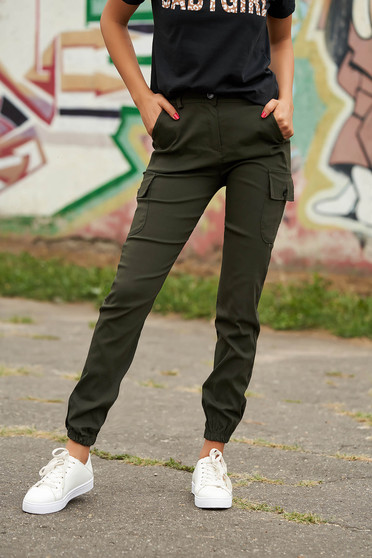 Khaki trousers casual high waisted denim imitation with front pockets lateral pockets