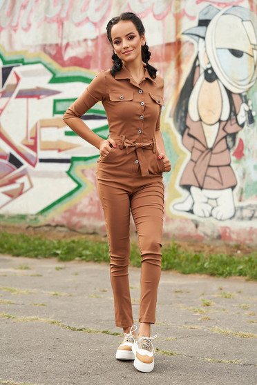 Brown jumpsuit casual long with pockets detachable cord arched cut