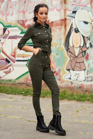 Khaki jumpsuit casual long with pockets detachable cord arched cut