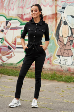 Black jumpsuit casual long with pockets detachable cord arched cut