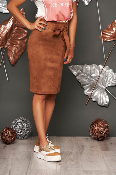 Brown skirt casual midi pencil faux leather without clothing