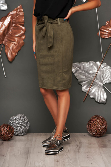 Khaki skirt casual midi pencil faux leather without clothing