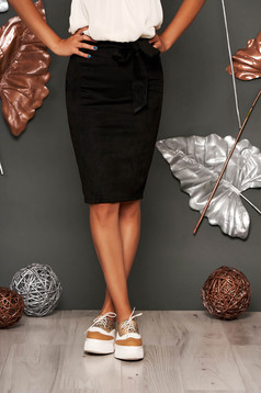 Black skirt casual midi pencil faux leather without clothing
