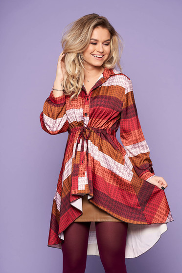 Brown women`s blouse casual daily asymmetrical with graphic details is fastened around the waist with a ribbon long sleeved