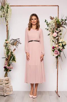 Lightpink dress elegant midi flared from veil fabric folded up faux leather belt
