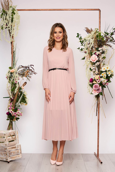 Lightpink dress elegant midi flared from veil fabric folded up faux leather belt