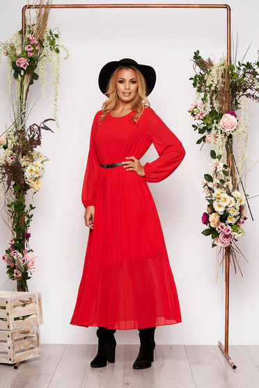 Red dress elegant midi flared from veil fabric folded up faux leather belt