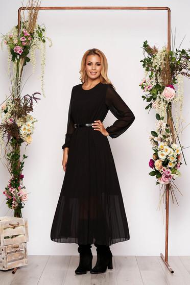 Black dress elegant midi flared from veil fabric folded up faux leather belt