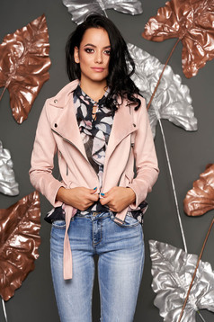 Lightpink jacket casual short cut faux leather with pockets metallic buckle