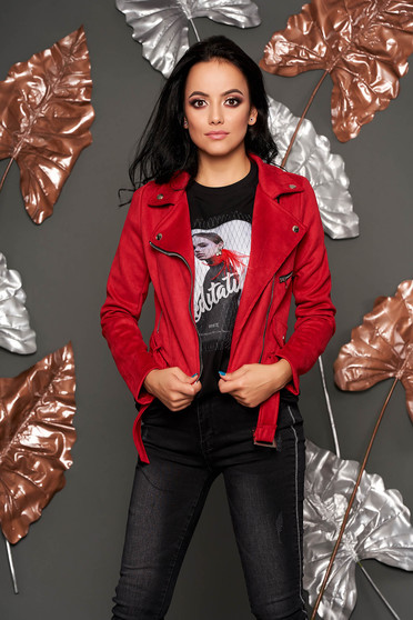 Burgundy jacket casual short cut faux leather with pockets metallic buckle