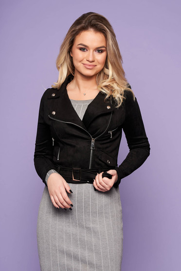 Black jacket casual short cut faux leather with pockets metallic buckle