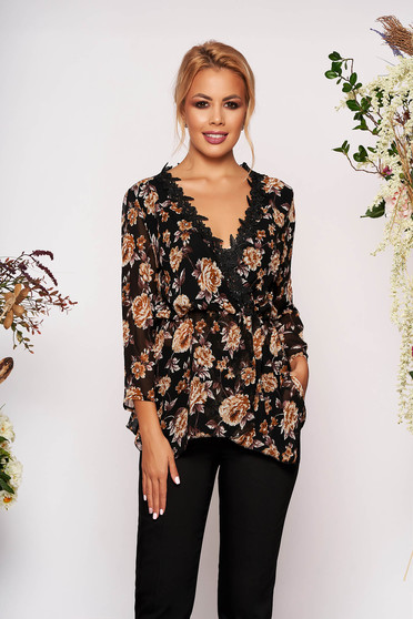 Black women`s blouse elegant long sleeve from veil fabric with floral print with v-neckline with lace details
