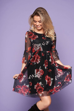 Black dress daily short cut cloche from veil fabric bell sleeves with floral print with rounded cleavage