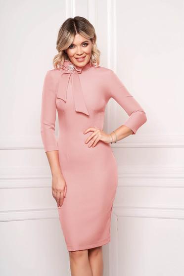 StarShinerS lightpink dress elegant office midi cloth slightly elastic fabric accessorized with breastpin