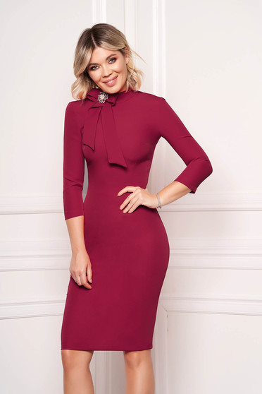 StarShinerS raspberry dress elegant office midi cloth slightly elastic fabric accessorized with breastpin